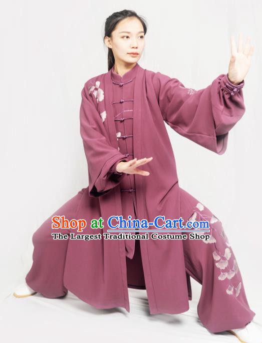 Traditional Chinese Martial Arts Embroidered Ginkgo Purple Costume Professional Tai Chi Competition Kung Fu Uniform for Women