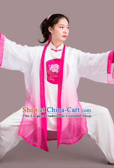 Traditional Chinese Martial Arts Printing Peony Rosy Costume Professional Tai Chi Competition Kung Fu Uniform for Women