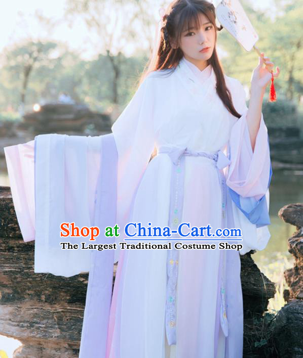 Chinese Traditional Historical Costume Ancient Jin Dynasty Court Princess Embroidered Hanfu Dress for Women