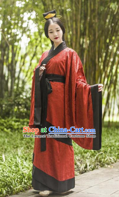 Chinese Traditional Han Dynasty Court Lady Historical Costume Ancient Princess Wedding Embroidered Hanfu Dress for Women