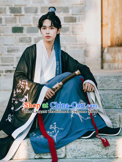 Chinese Traditional Jin Dynasty Scholar Historical Costume Ancient Nobility Childe Embroidered Clothing for Men