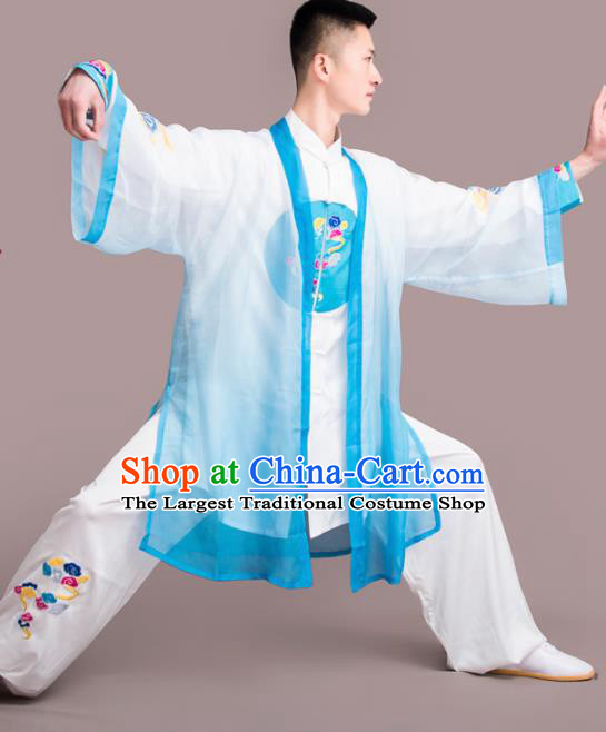 Traditional Chinese Martial Arts Embroidered Blue Costume Professional Tai Chi Competition Kung Fu Uniform for Men