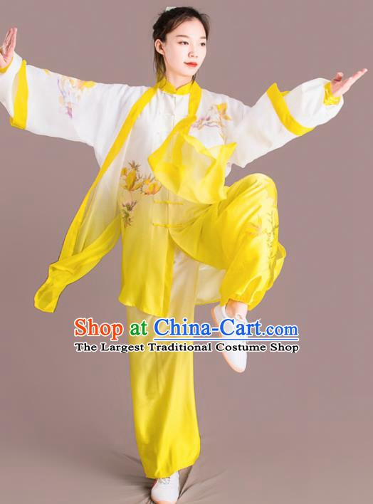 Traditional Chinese Martial Arts Embroidered Yellow Costume Professional Tai Chi Competition Kung Fu Uniform for Women