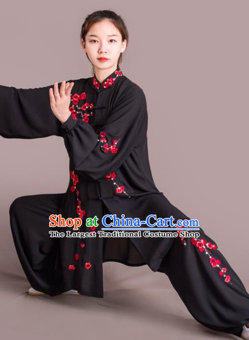 Traditional Chinese Martial Arts Embroidered Plum Blossom Black Costume Professional Tai Chi Competition Kung Fu Uniform for Women