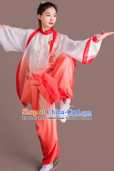 Traditional Chinese Martial Arts Embroidered Rosy Silk Costume Professional Tai Chi Competition Kung Fu Uniform for Women