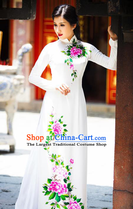 Vietnam Traditional National Costume Court Printing White Ao Dai Dress Asian Vietnamese Cheongsam for Women