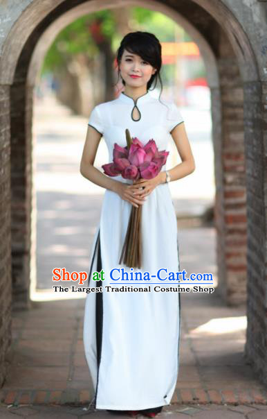Vietnam Traditional National Costume White Ao Dai Dress Asian Vietnamese Cheongsam for Women
