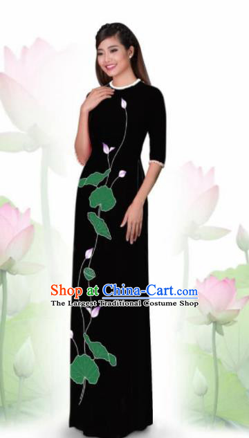 Vietnam Traditional National Costume Printing Lotus Black Ao Dai Dress Asian Vietnamese Cheongsam for Women