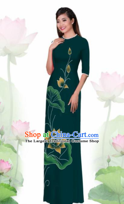 Vietnam Traditional National Costume Printing Lotus Green Ao Dai Dress Asian Vietnamese Cheongsam for Women