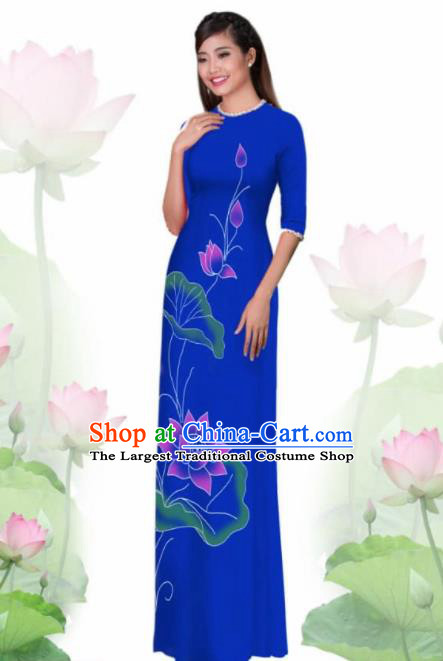 Vietnam Traditional National Costume Printing Lotus Blue Ao Dai Dress Asian Vietnamese Cheongsam for Women
