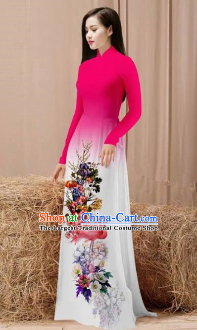 Vietnam Traditional National Costume Printing Flamingo Flowers Rosy Ao Dai Dress Asian Vietnamese Cheongsam for Women