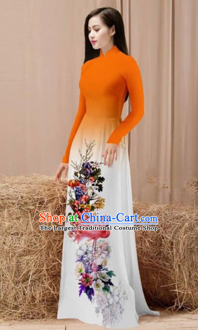 Vietnam Traditional National Costume Printing Flamingo Flowers Orange Ao Dai Dress Asian Vietnamese Cheongsam for Women