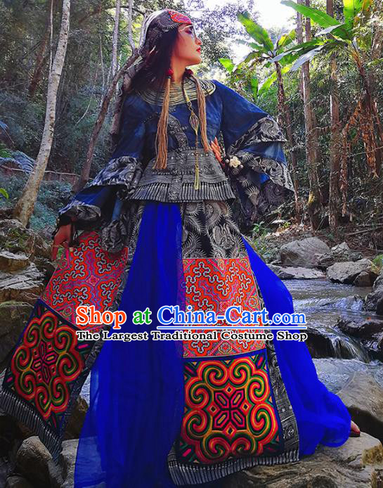 Chinese National Miao Nationality Bandhnu Clothing Traditional Ethnic Costume for Women