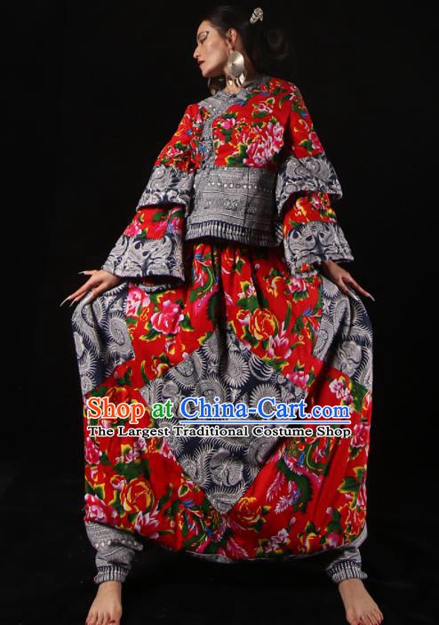 Chinese National Miao Nationality Bandhnu Red Clothing Traditional Ethnic Costume for Women