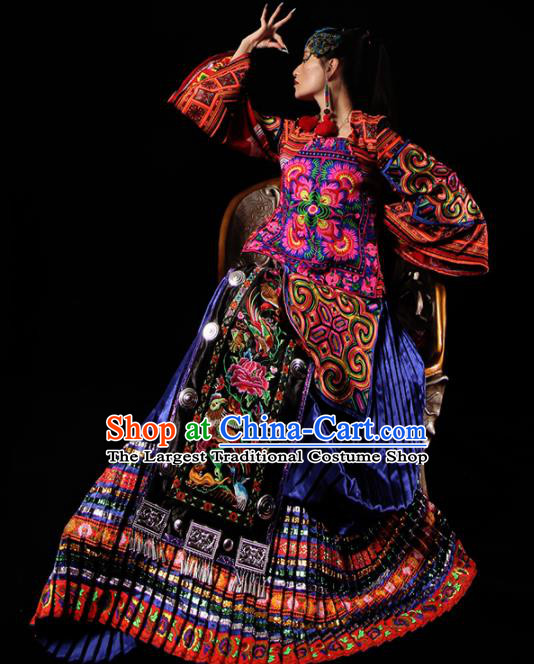 Chinese National Miao Nationality Embroidered Clothing Traditional Ethnic Costume for Women