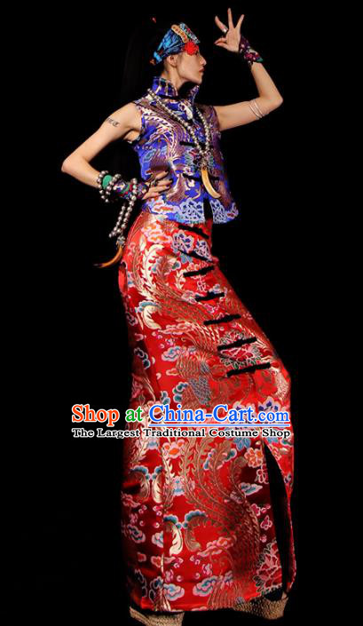 Chinese Traditional National Costume Red Brocade Skirt Tang Suit Dress for Women