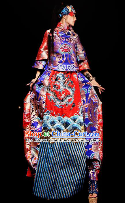 Chinese National Costume Traditional Tang Suit Brocade Qipao Dress for Women