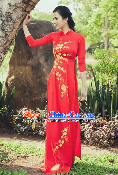 Vietnam Traditional Court Costume Wedding Red Ao Dai Dress Asian Vietnamese Cheongsam for Women