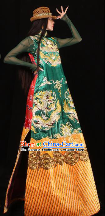 Chinese National Cheongsam Costume Traditional Tang Suit Green Brocade Qipao Dress for Women