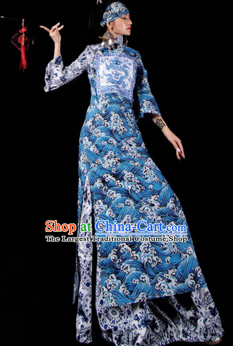Chinese National Cheongsam Costume Traditional Tang Suit Blue Brocade Qipao Dress for Women