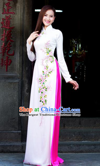 Vietnam Traditional Court Costume White Ao Dai Dress Asian Vietnamese Cheongsam for Women
