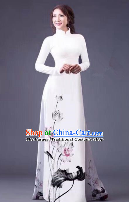 Vietnam Traditional National Costume Ink Painting Lotus White Ao Dai Dress Asian Vietnamese Cheongsam for Women