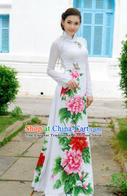 Vietnam Traditional National Costume Printing Peony White Ao Dai Dress Asian Vietnamese Cheongsam for Women