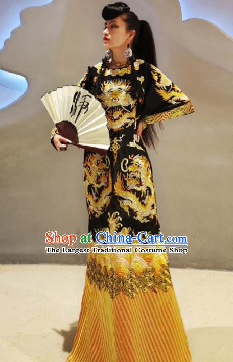 Chinese Traditional National Costume Embroidered Dragons Black Cheongsam Tang Suit Qipao Dress for Women