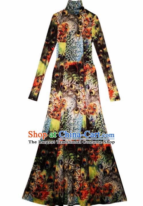 Chinese Traditional National Costume Printing Peacock Cheongsam Tang Suit Qipao Dress for Women