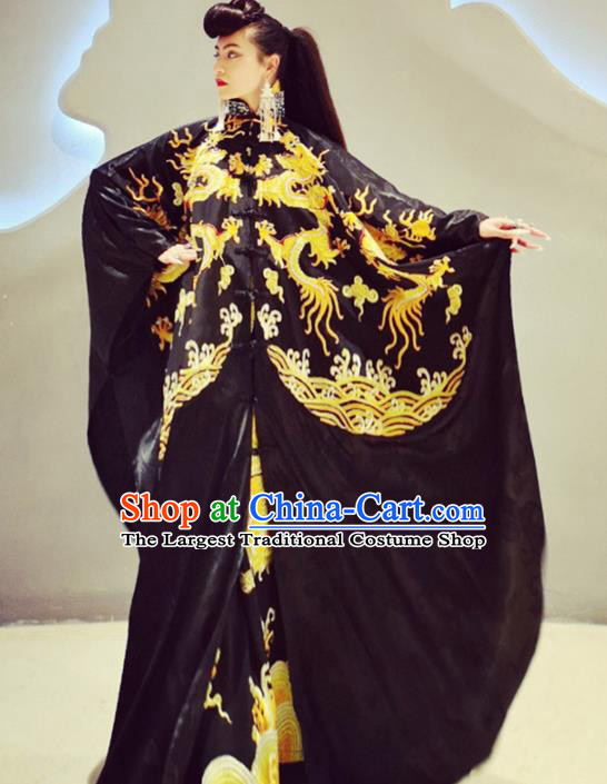 Chinese Traditional Catwalks Costume National Embroidered Black Robe Cheongsam Tang Suit Qipao Dress for Women