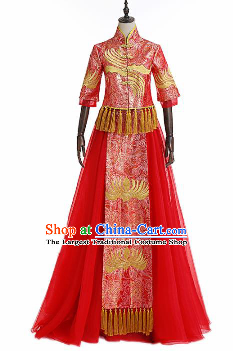 Chinese Traditional Wedding Costume Ancient Bride Xiu He Suit Red Dress for Women