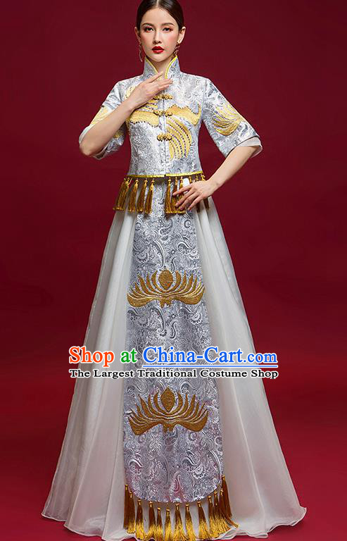 Chinese Traditional Wedding Costume Ancient Bride Xiu He Suit Grey Dress for Women