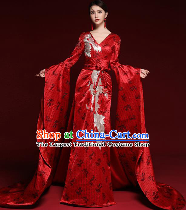 Chinese National Catwalks Red Trailing Cheongsam Traditional Costume Tang Suit Qipao Dress for Women