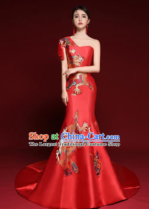 Chinese National Catwalks Printing Dragons Red Trailing Cheongsam Traditional Costume Tang Suit Qipao Dress for Women