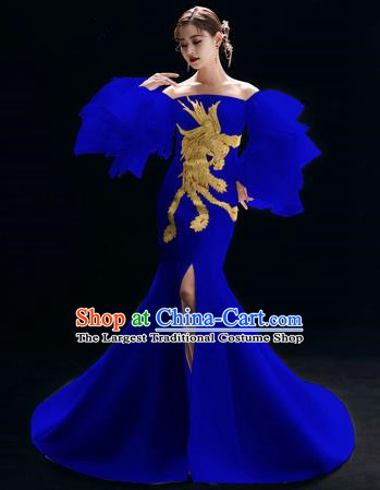 Top Grade Catwalks Embroidered Royalblue Full Dress Modern Dance Party Compere Costume for Women