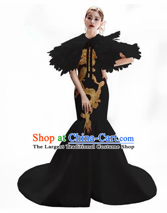 Chinese National Catwalks Embroidered Black Cheongsam Traditional Costume Tang Suit Qipao Dress for Women