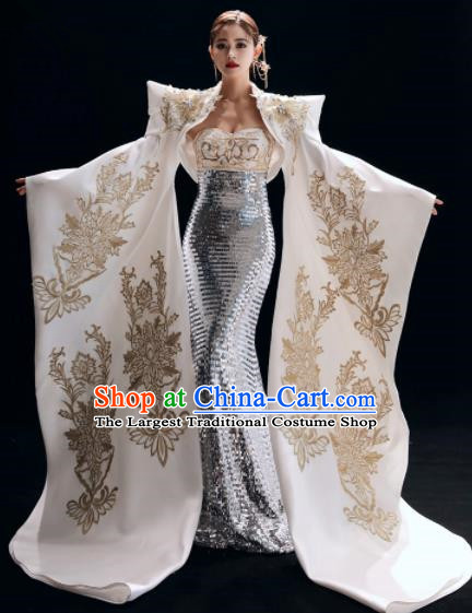 Chinese National Catwalks Embroidered White Mermaid Cheongsam Traditional Costume Tang Suit Qipao Dress for Women