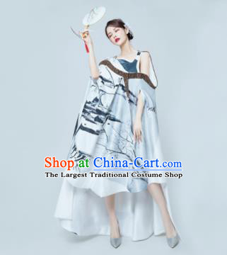 Top Grade Catwalks Compere Ink Painting Short Full Dress Modern Dance Party Costume for Women