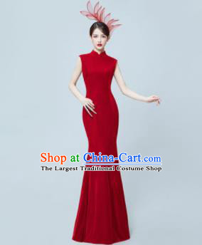 Chinese National Catwalks Wine Red Cheongsam Traditional Costume Tang Suit Silk Qipao Dress for Women