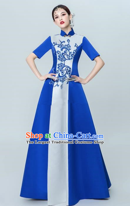 Chinese National Catwalks Blue Cheongsam Traditional Costume Tang Suit Silk Qipao Dress for Women
