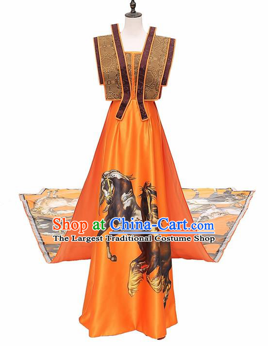 Chinese National Catwalks Trailing Cheongsam Traditional Costume Tang Suit Silk Qipao Dress for Women