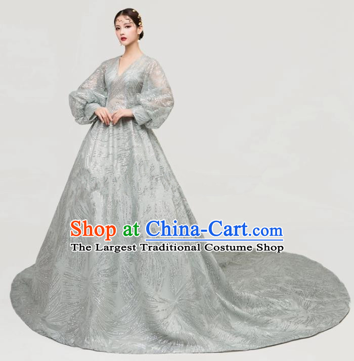 Top Grade Catwalks Grey Veil Full Dress Chorus Compere Modern Dance Party Trailing Costume for Women