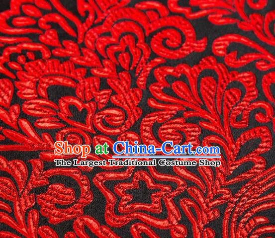 Asian Chinese Traditional Red Pattern Brocade Cheongsam Silk Fabric Chinese Fabric Material