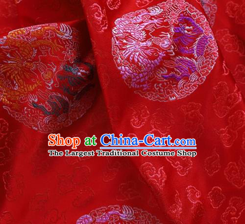 Asian Chinese Traditional Dragon Pattern Red Brocade Cheongsam Silk Fabric Chinese Fabric Material