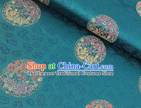 Asian Chinese Traditional Dragon Pattern Green Brocade Cheongsam Silk Fabric Chinese Fabric Material