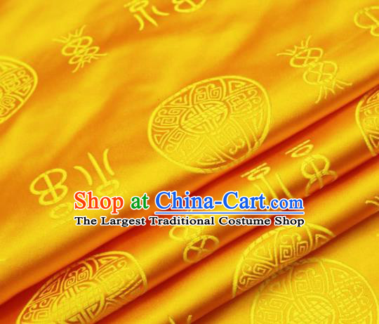 Asian Chinese Traditional Fu Character Pattern Golden Brocade Cheongsam Silk Fabric Chinese Fabric Material