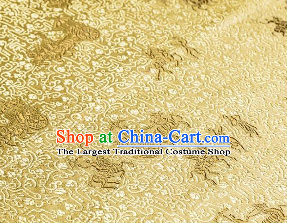 Asian Chinese Traditional Vehicles Pattern Golden Brocade Cheongsam Silk Fabric Chinese Fabric Material
