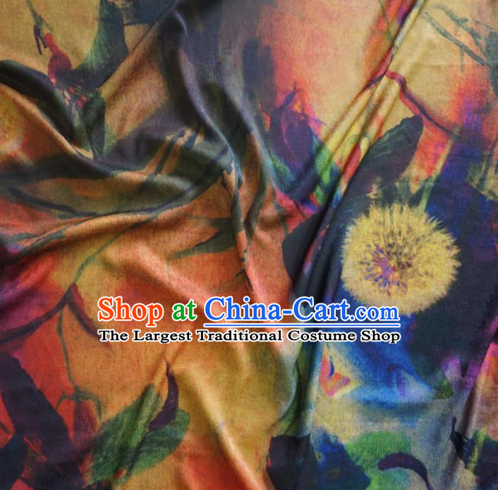Asian Chinese Traditional Dandelion Pattern Watered Gauze Cheongsam Silk Fabric Chinese Fabric Material