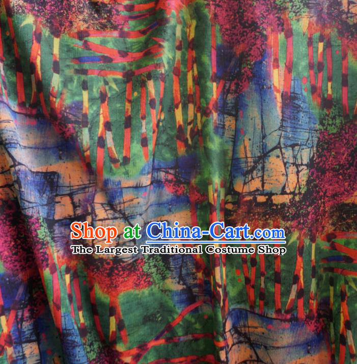 Asian Chinese Traditional Pattern Green Watered Gauze Cheongsam Silk Fabric Chinese Fabric Material