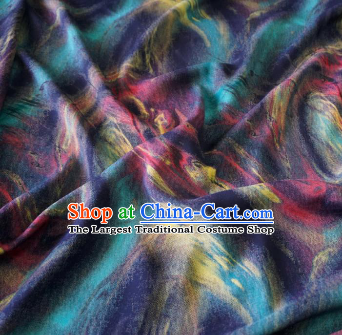Asian Chinese Traditional Pattern Blue Watered Gauze Cheongsam Silk Fabric Chinese Fabric Material